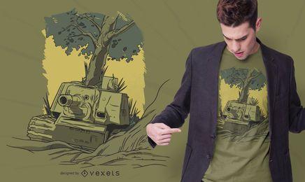 Design de camiseta com ilustração de tanque