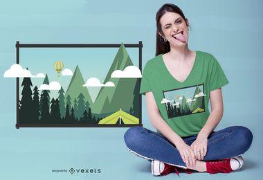 Design de camiseta de paisagem de acampamento