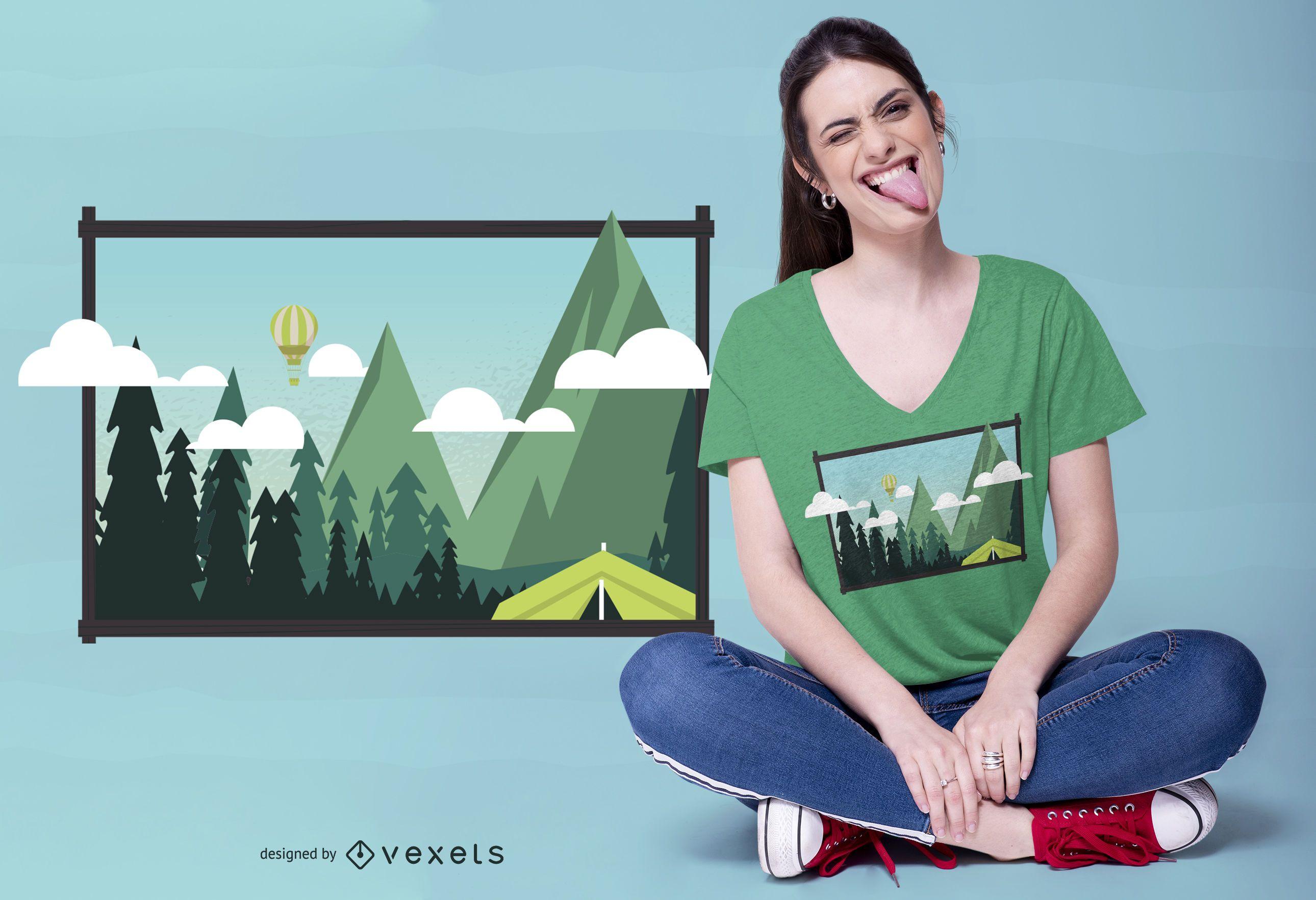 Diseño de camiseta Camp Landscape