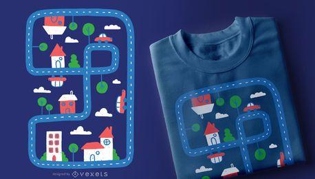 Design de t-shirt de cidade de criança