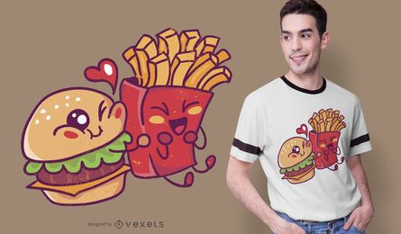 Diseño de camiseta Burger Loves Fries