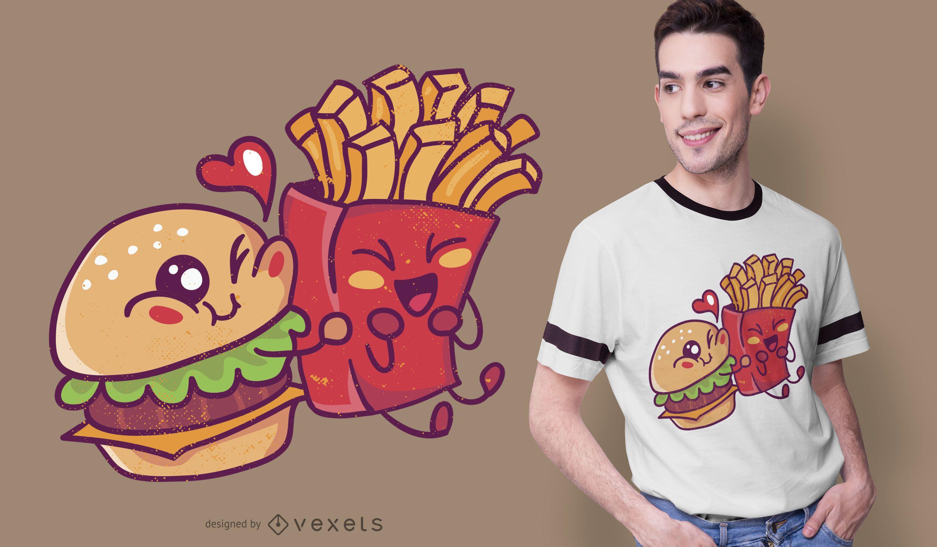 Burger Loves Fries T-shirt Design