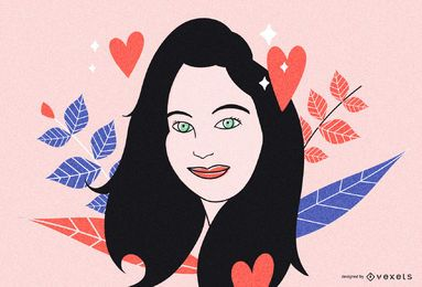 Ilustración de lindo retrato de mujer