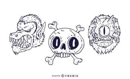 Vector de miedo cabezas de halloween