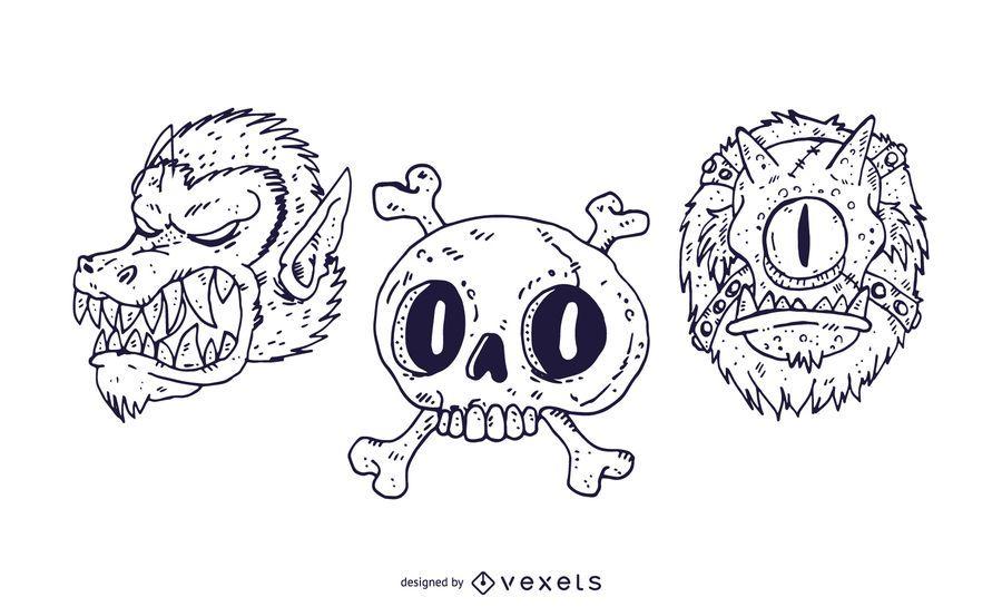 Monster Head Stroke Style Design Pack