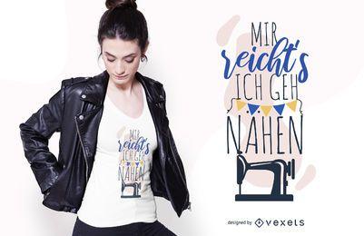 Design alemão engraçado do t-shirt das citações da costura