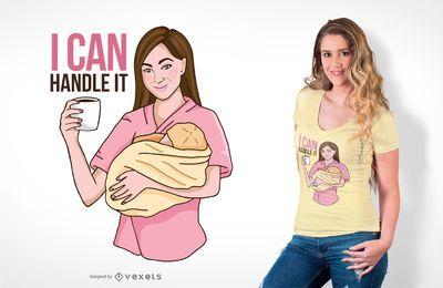 Design do t-shirt da enfermeira do bebê do café