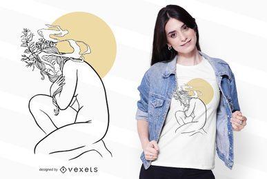 Design floral de camisetas femininas