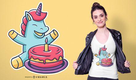 Einhorn Cartoon Kuchen T-Shirt Design