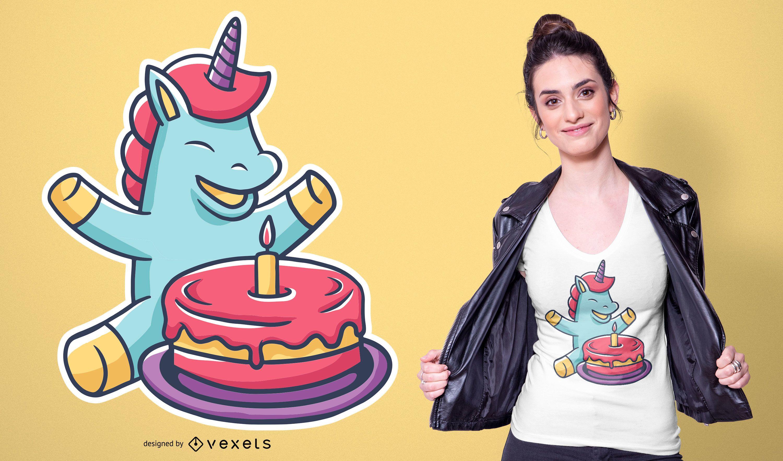Diseño de camiseta de pastel de dibujos animados de unicornio