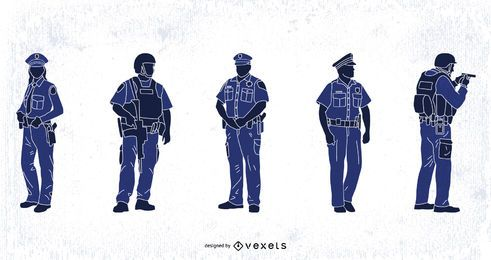 Conjunto de silhuetas de polícia