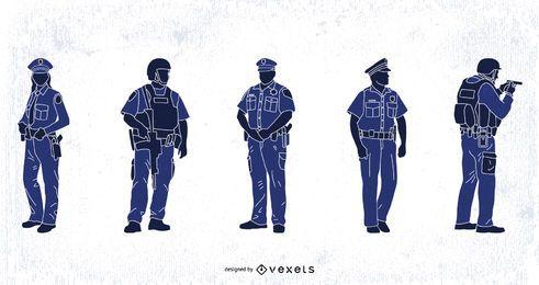 Conjunto de siluetas de policía