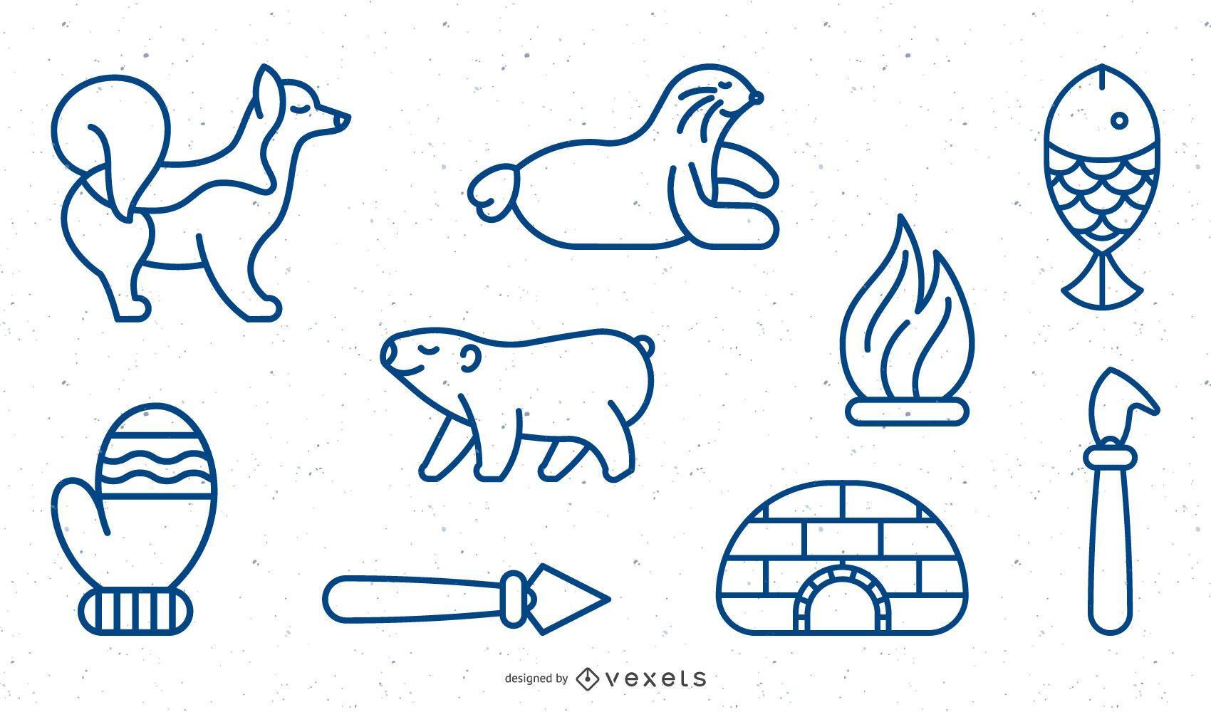 Eskimo elements stroke set