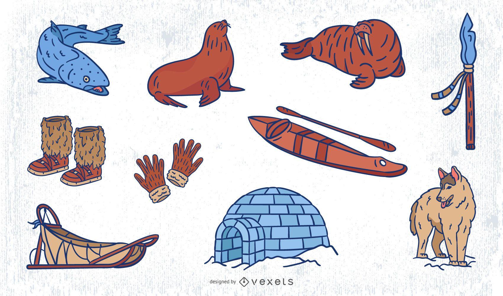 Eskimo hand drawn elements set