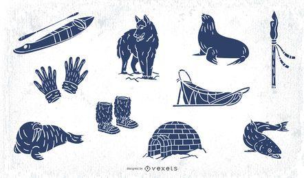 Paquete de elementos esquimales dibujados a mano