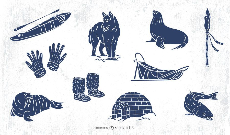Eskimo hand drawn elements pack