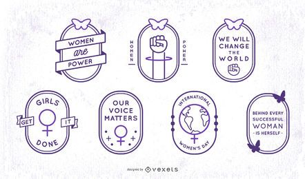 Conjunto de insignias de trazo del día de la mujer
