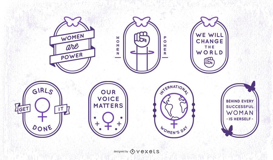 Womens day stroke badge set