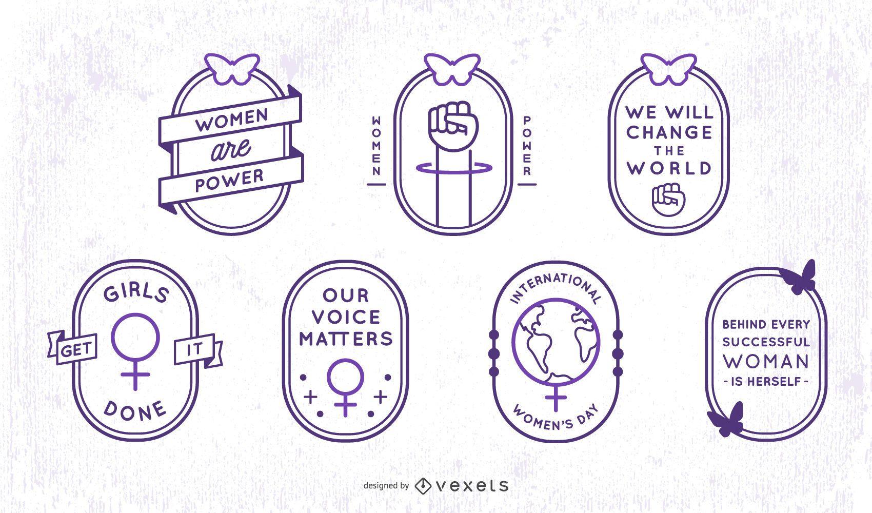 Womens day stroke badge set