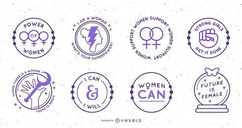 Womens day circular badges set