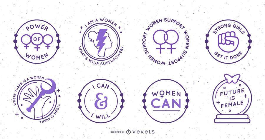 Conjunto de emblemas circulares de dia das mulheres