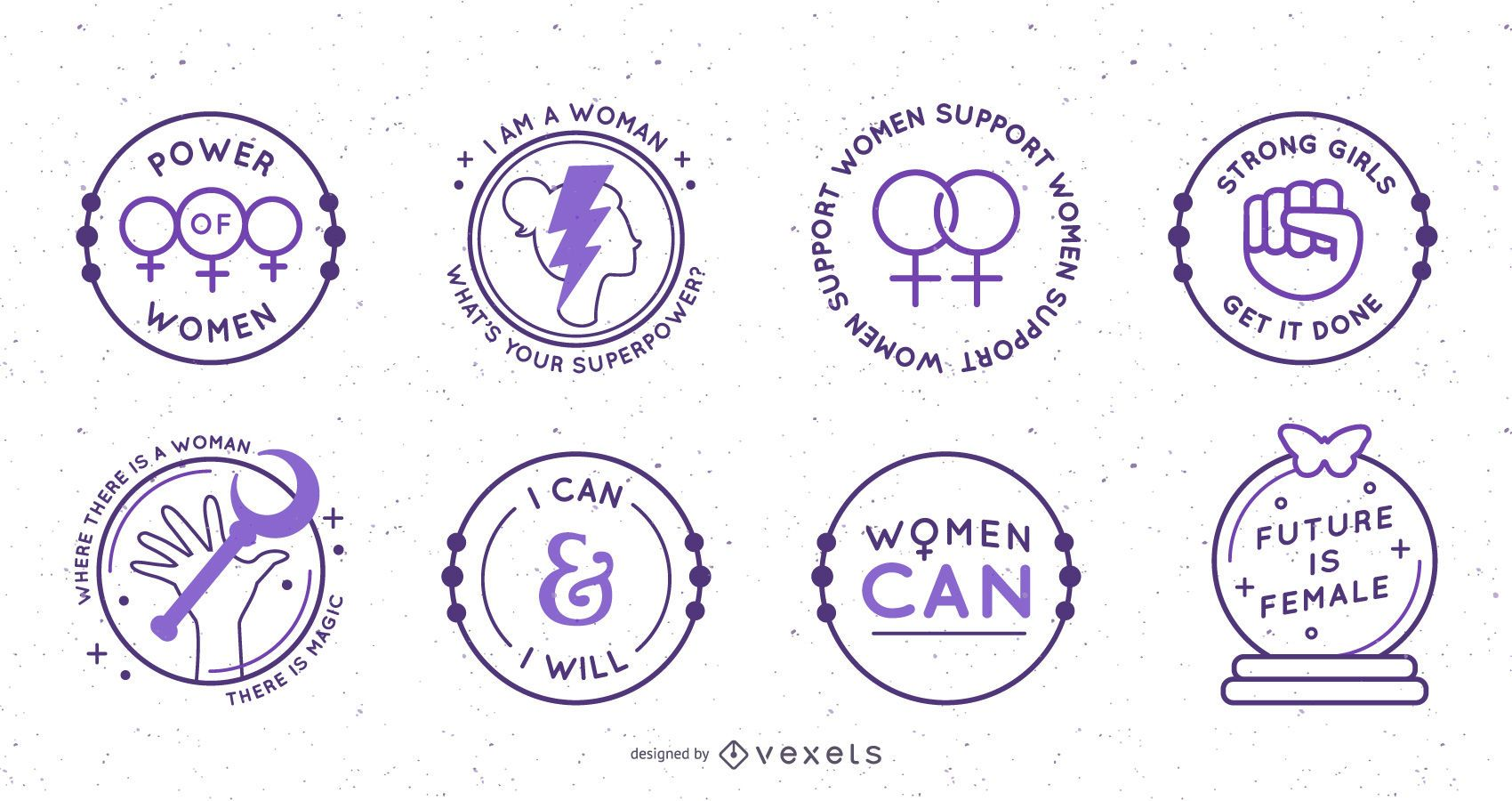 Conjunto de insignias circulares del día de la mujer.