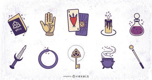 Conjunto de Design colorido de elementos mágicos