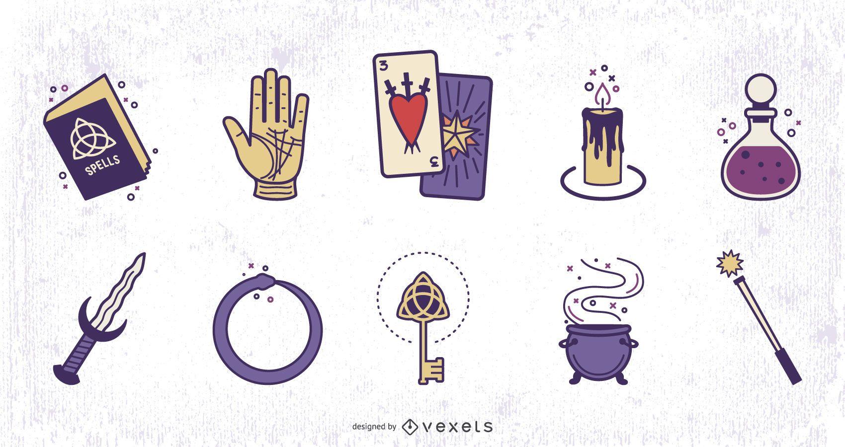 Conjunto de diseño de colores de elementos mágicos