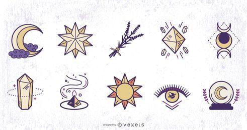 Paquete de diseño coloreado de elementos mágicos