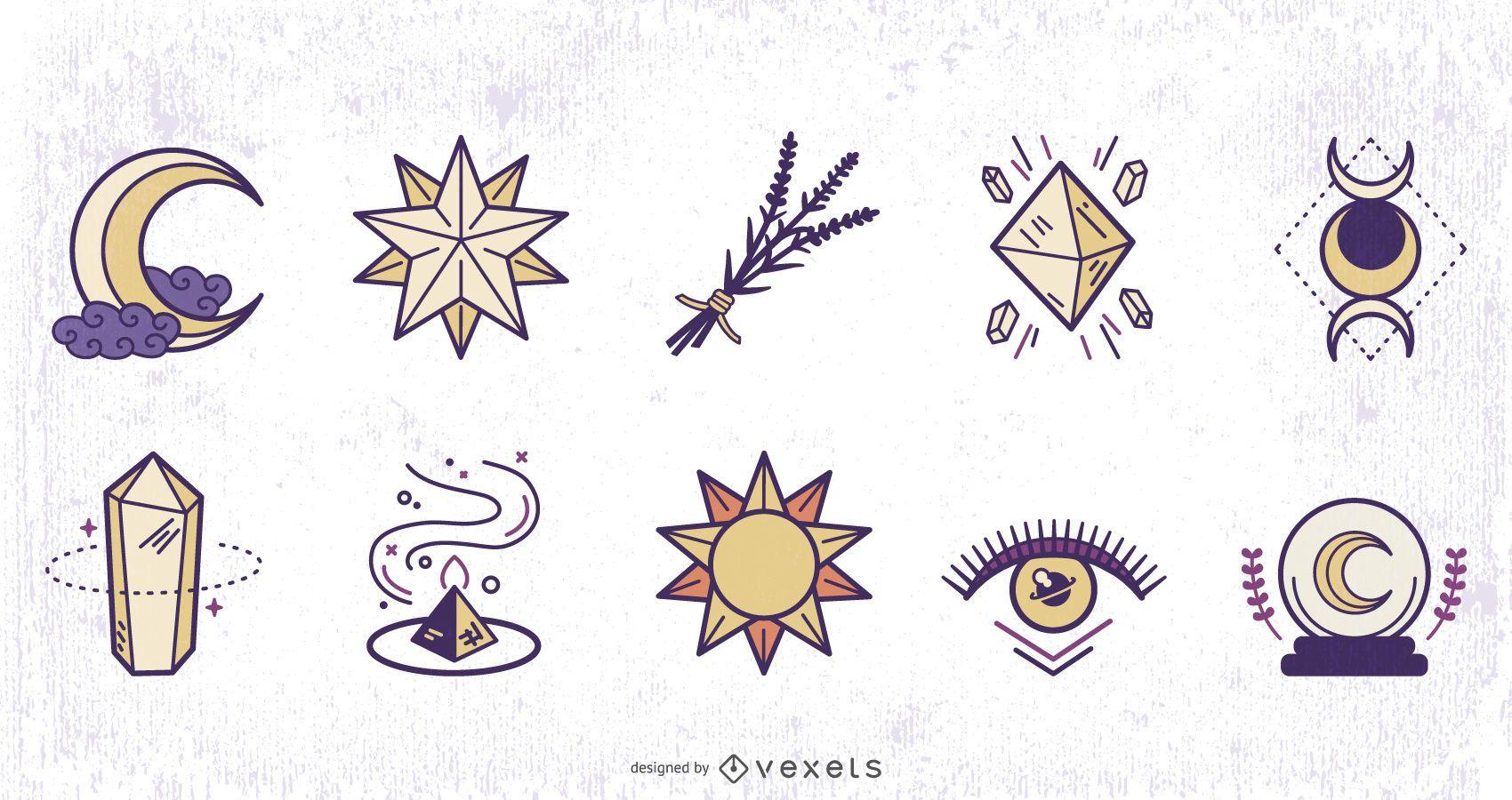 Paquete de diseño de colores de elementos mágicos