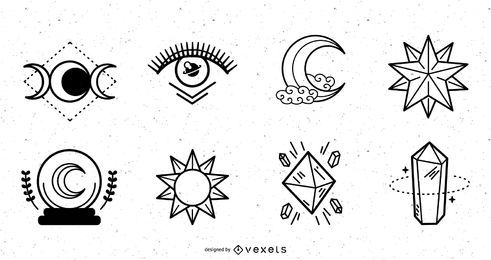 Pacote de design de traços de elementos mágicos