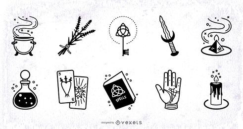 Conjunto de Design de traços de elementos mágicos
