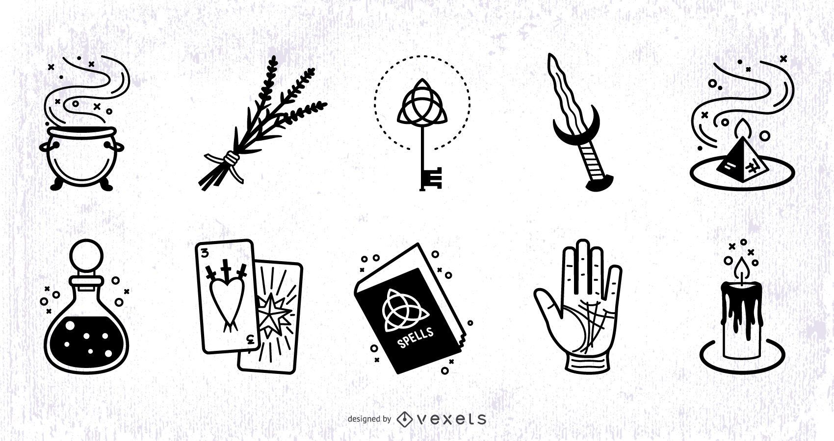 Conjunto de diseño de trazo de elementos mágicos