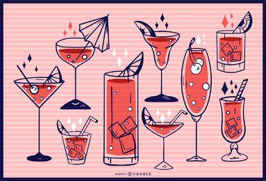 Colección de diseño de copa de cóctel