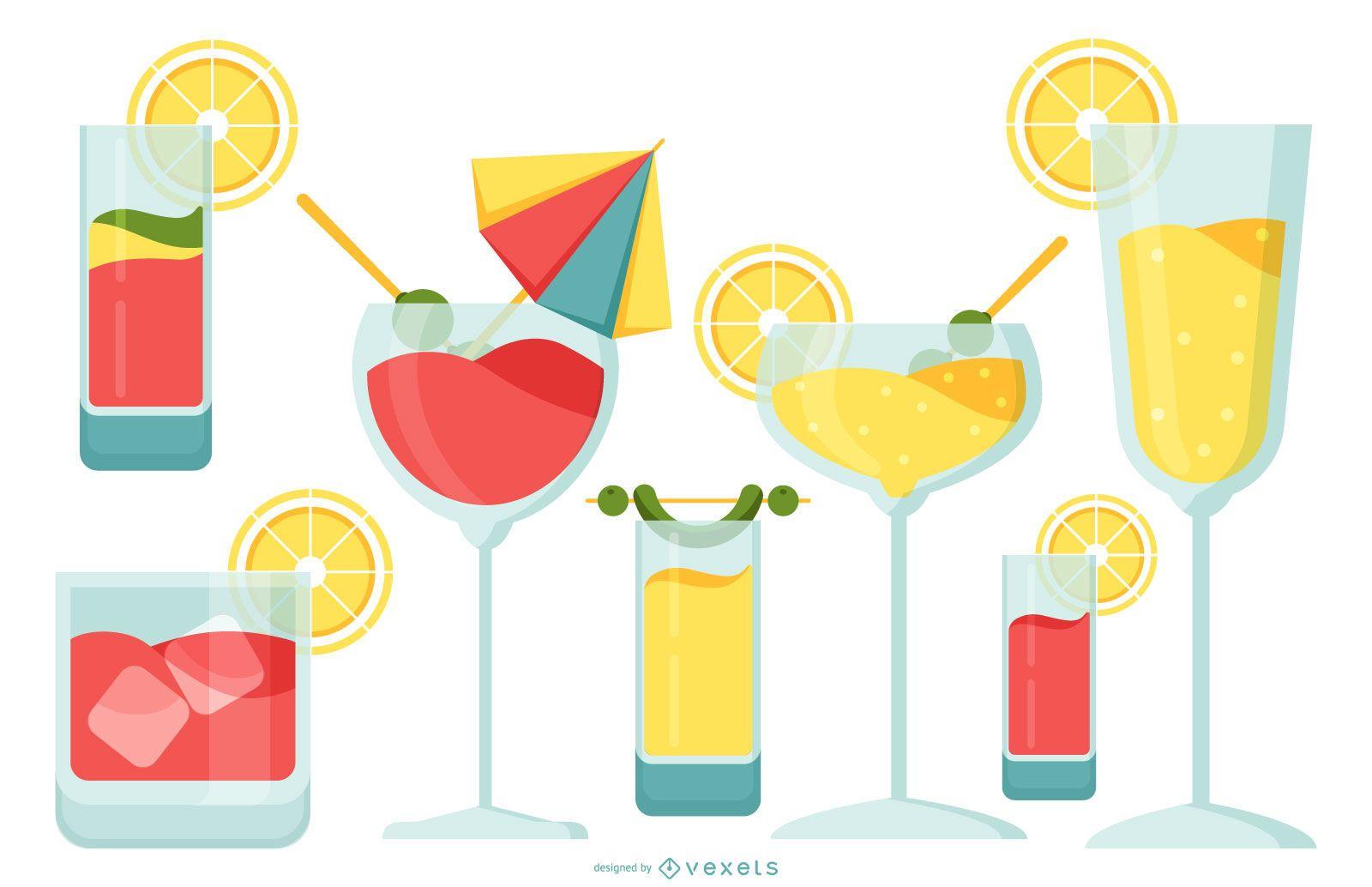 Cocktail- und Getränkeglas-Designpaket