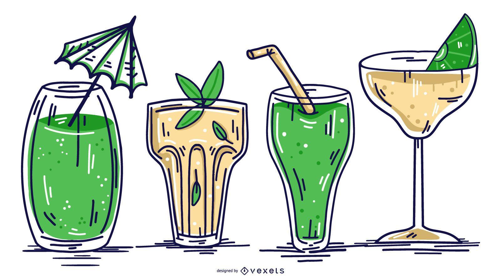 Conjunto de Design de Ilustração de Copo Bebendo