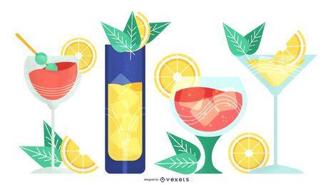 Paquete de ilustraciones de vasos para beber