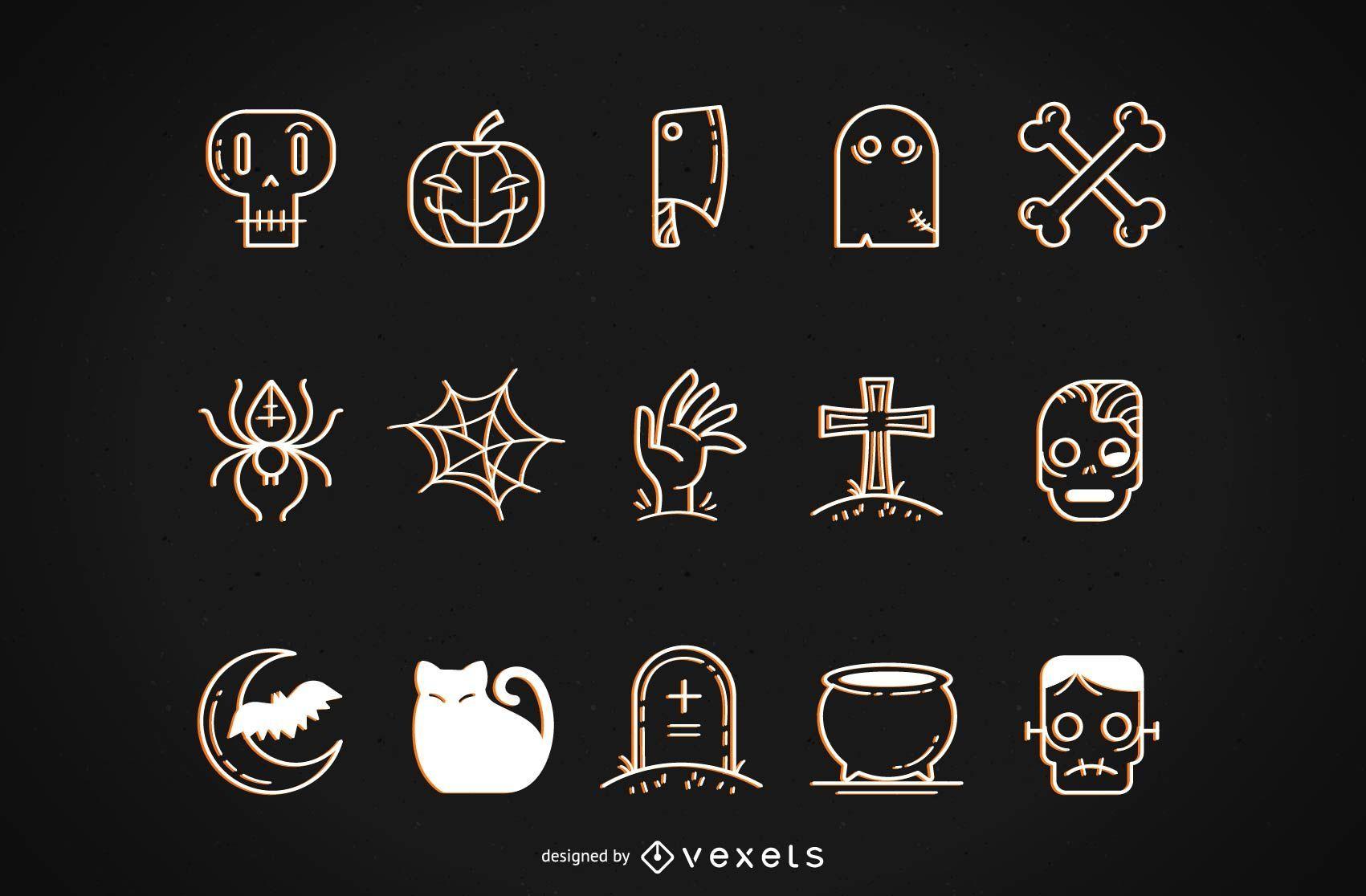 Conjunto de vectores funky de Halloween