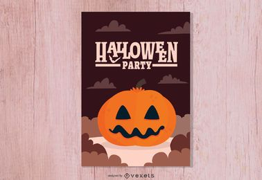 Halloween Party Card with Pumpkin