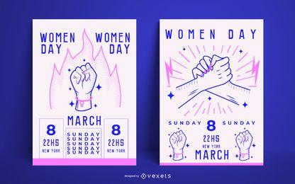 Conjunto de modelo de cartaz de dia das mulheres