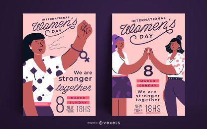Conjunto de pôsteres do Dia Internacional da Mulher