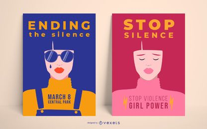 Conjunto de plantillas de carteles del día de la mujer