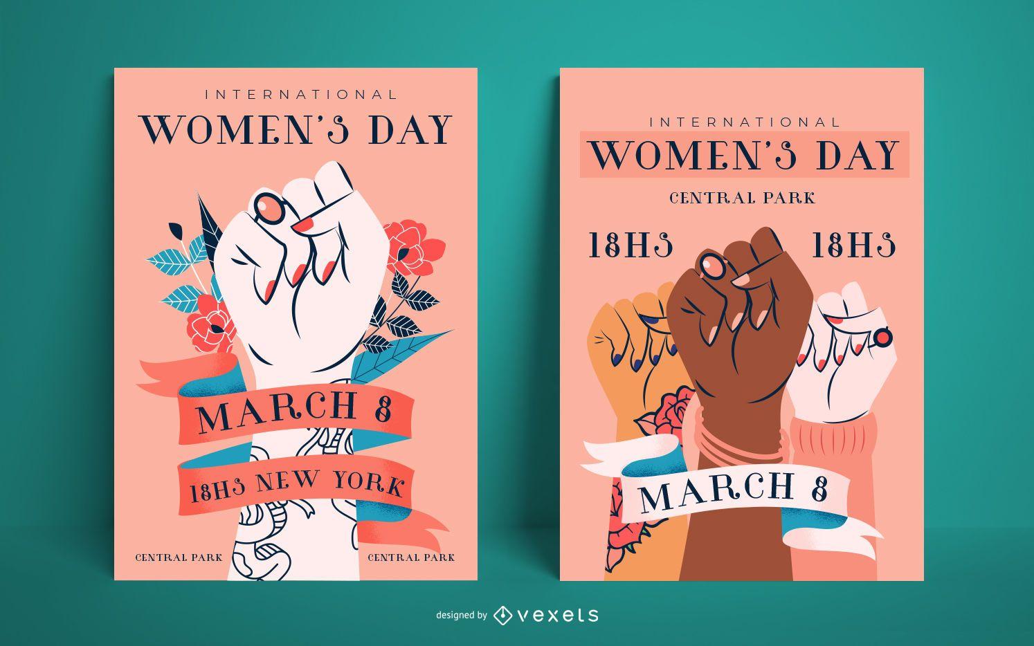 Conjunto de pôsteres do Dia da Mulher