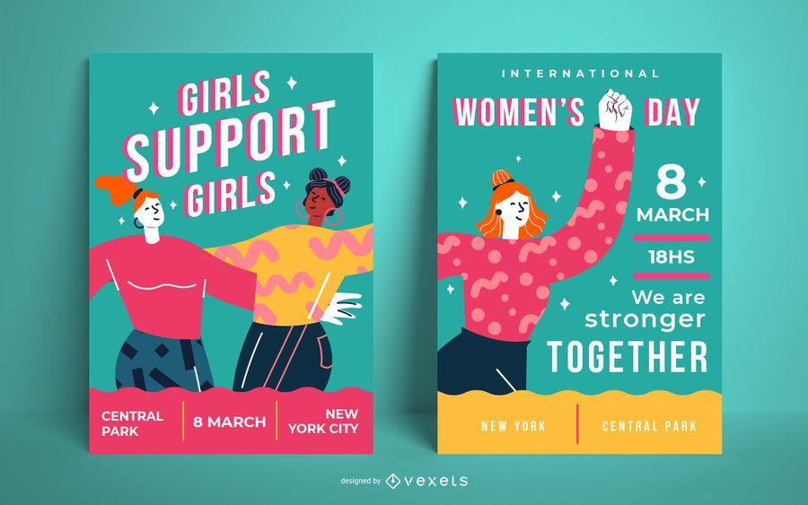 Cartazes coloridos do Dia da Mulher