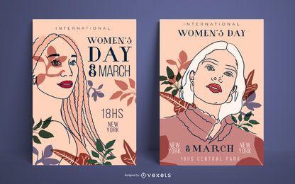 Conjunto de cartaz do dia da mulher