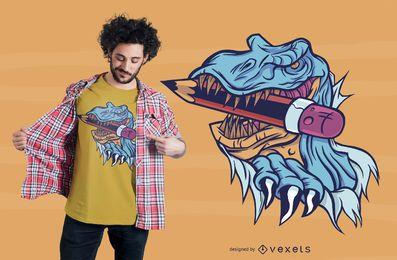 Diseño de camiseta School T-rex