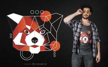 Diseño de camiseta de panda rojo poligonal