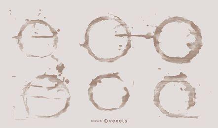 Pacote de design de ilustração de anéis de café