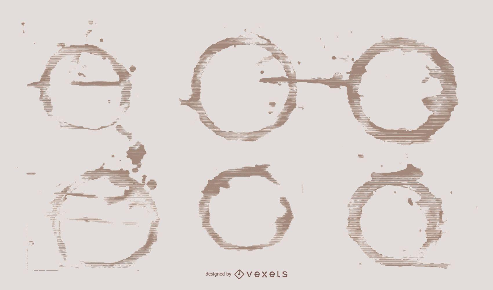 Paquete de diseño de ilustración de anillos de café