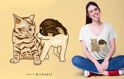 Diseño de camiseta de cachorro y gatito